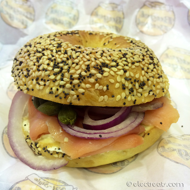 Lox on Everything Bagel - IDR 55K  Smoked salmon, cream cheese, capers, and red onion. A must-try.