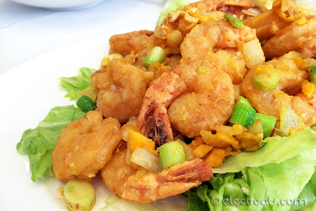 Salty Egg with King Prawns - $24.80  Delicious and not too salty.