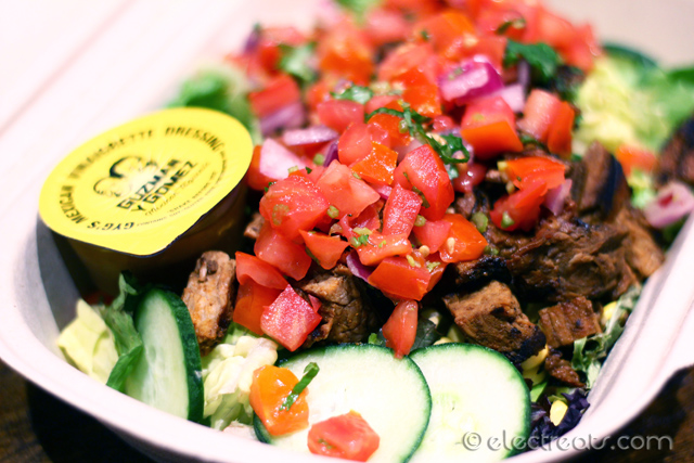 Steak Chipotle Salad - $11  Mixed greens, corn, cucumber, Pico de Gallo salsa, GYG's vinaigrette and steak chipotle. The vinaigrette tasted like regular vinagrette but with an added Mexican twist. It was delicious.