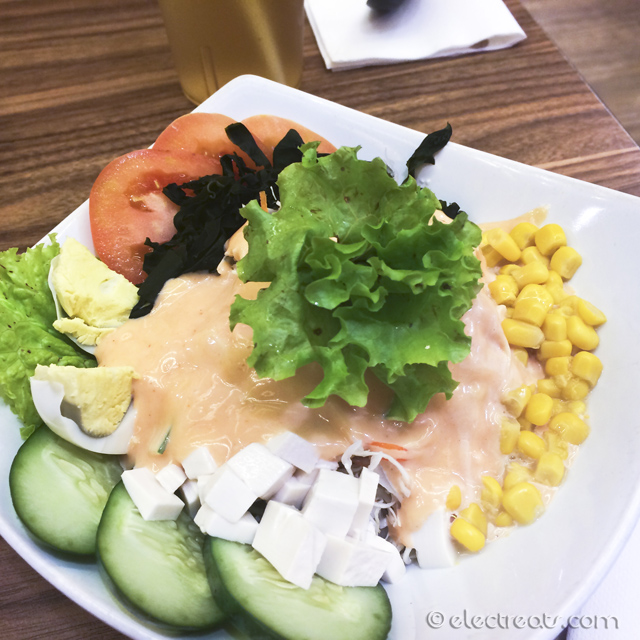 Ichiban Salad - IDR 25K  Fresh salad made of cabbage, carrot, cucumber, corn, seaweed, lettuce, egg, and tomato.
