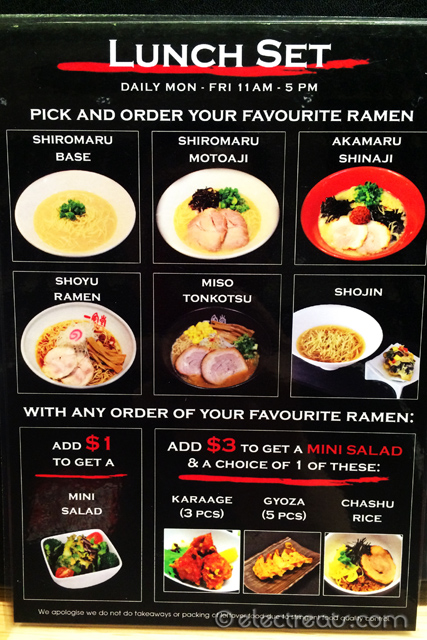 Lunch Set Promotions  Very good deals. We chose to go for them.