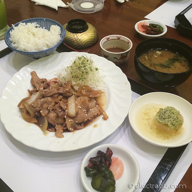 Buta Shogayaki Teishoku Set - IDR 72K  Ginger pork saute. All lunch set includes chawan mushi (steamed egg pudding), salad, steamed rice, miso soup, pickles, and a dessert.