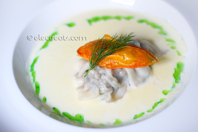 Seafood Ravioli in Creme de Mer - IDR 68K  Beautiful and elegant paired with a memorable taste. A masterpiece.