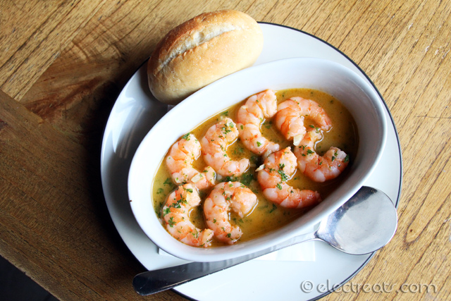 Prawns Sauteed with Garlic and Parsley a.k.a. Gambas al Ajillo - IDR 45K  So prawns can be cooked this good!