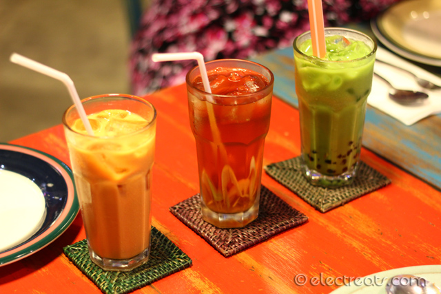 Iced Thai Tea, Lemongrass Tea, Iced Thai Green Tea - all IDR 25K