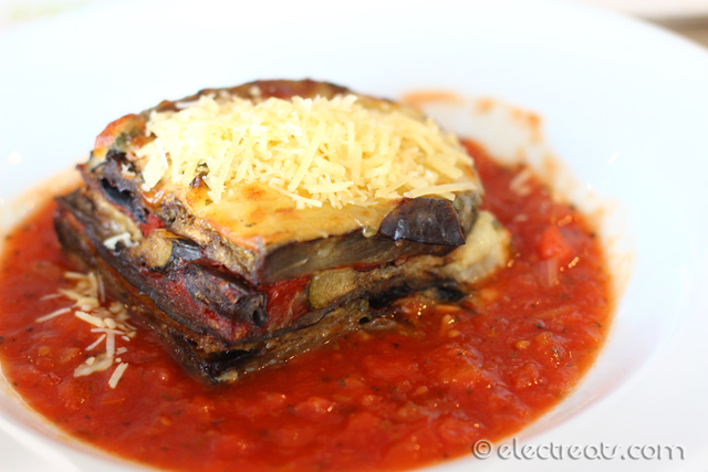 Eggplant Moussaka - $9  I am not a vegetarian, but it's surprisingly hard not to like this dish. If you buy this with the following Gourmet Salad, you can get them both for $13 instead of $16. That's almost 20% off!