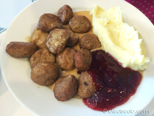 Swedish Meatballs / KÖTTBULLAR (15 pcs) - $10  IKEA's Signature Dish. 15 meatballs served with mashed potatoes, cream sauce (GRÄDDSÅS) and lingonberries (SYLT LINGON). The red sauce is made from lingonberries, IKEA's Signature Sauce. Lingonberries grow wild in many ancient forests throughout the Northern hemisphere. Serve with meatballs, on crispbread or toast, or with pancakes, ice-cream, yogurt or cereals. You can buy a jar of Lingonberry Jam (400 gr) for $4.49. Not bad but I'd still put my money on Cranberry Jam.