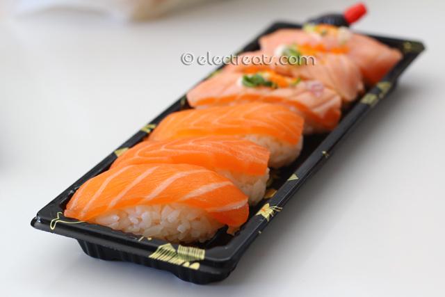 Nigiri Deluxe Box - $7  Sake (Salmon) Nigiri & Sake-Aburi (Torched Salmon) Nigiri.