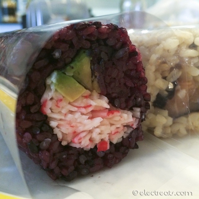 Kani-Avocado Roll with Black Rice & Salmon Roll with Brown Rice, $3 each