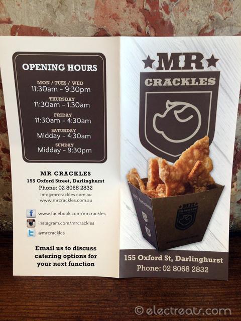 Mr. Crackles Menu
