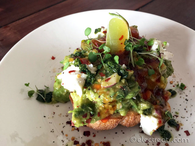 Avocado salsa, goats cheese, sourdough w/ fresh lime, coriander, and chilli jam